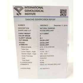 Diamante in Blister Certificato IGI 0.71 ct F SI1