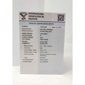 Diamante in Blister Certificato IGI 0.90 ct D VS2