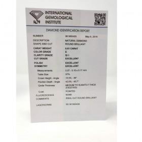 Diamante in Blister Certificato IGI 0.51 ct E SI1