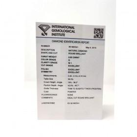 Diamante in Blister Certificato IGI 0.50 ct G SI1