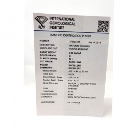 Diamante in Blister Certificato IGI 0.33 ct G SI1