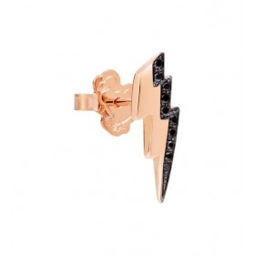 Monorecchino Dodo Fulmine Oro Rosa Diamanti Neri DOHFUL/9/BB