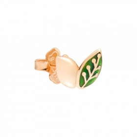 Monorecchino Dodo Foglia Oro Rosa 9Kt Smalto Verde DOHLEAF/9/VE/K