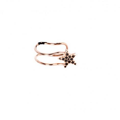 Orecchino Donna Ear Cuff Raggi Argento 925 Modello Stella con Pietre Nere