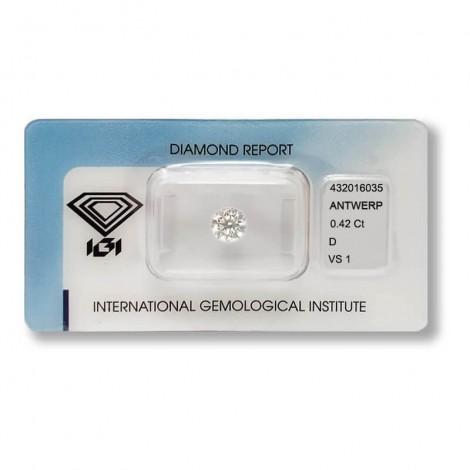 Diamante in Blister Certificato IGI 0.42 ct D VS1
