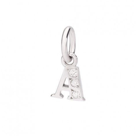 Ciondolo Dodo Lettera A Oro Bianco 18Kt Diamanti DLETPOB/B/A