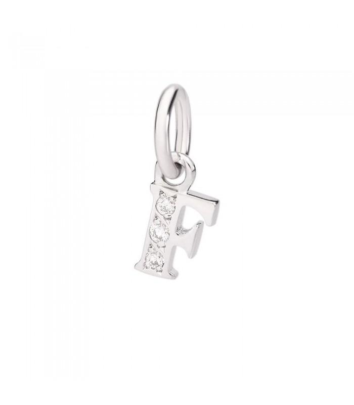 Ciondolo Dodo Lettera F Oro Bianco 18Kt Diamanti DLETPOB/B/F