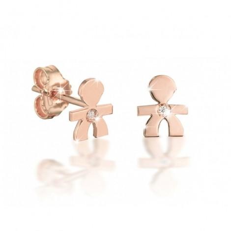 Le Bebè Monorecchino Oro Rosa Diamantino Bimbo LBB329